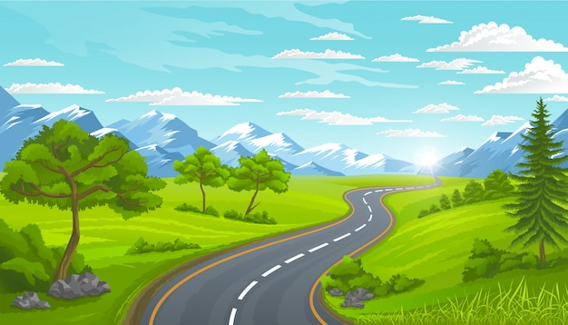 Road and mountains, landscape in summer