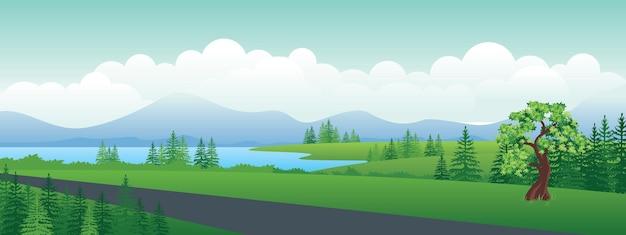 언덕 위의 도로가 호수와 계곡을 통과했습니다.