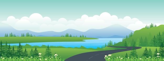 계곡을 통과 한 언덕 위의 길