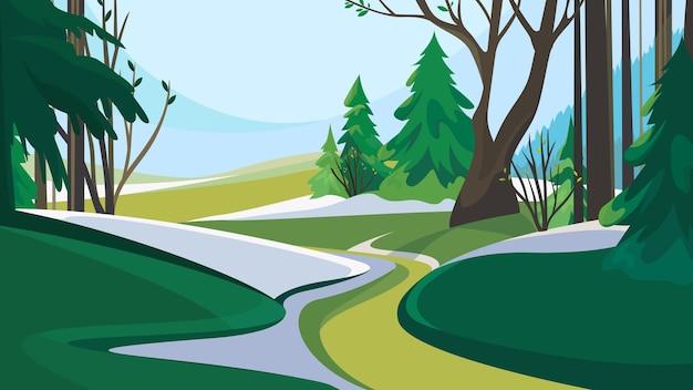 Дорога из леса. весенний пейзаж природы.