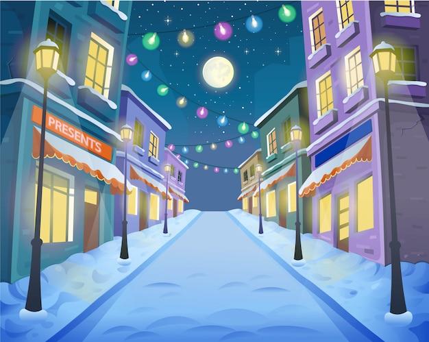 ランタンと花輪のある通りの上の道。漫画のスタイルで冬の街のベクターイラストです。