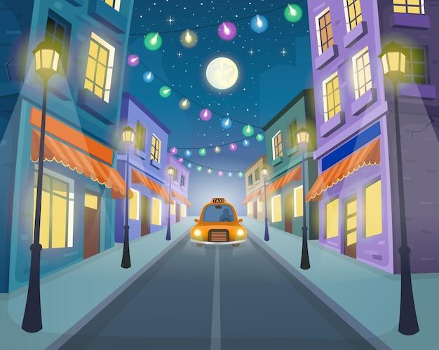 Дорога по улице с такси, фонарями и гирляндой. векторная иллюстрация в мультяшном стиле.