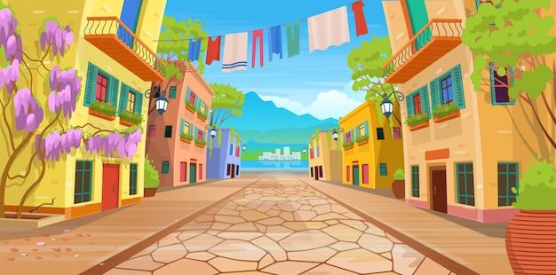 Панорама дороги по улице с фонарями и постиранной одеждой. векторная иллюстрация летней улицы в мультяшном стиле.