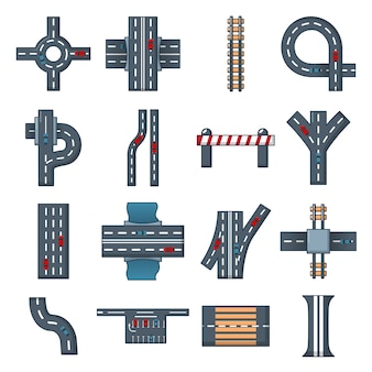 Road parts constructor icons set