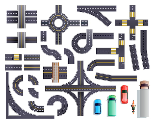 Road parts vehicles set
