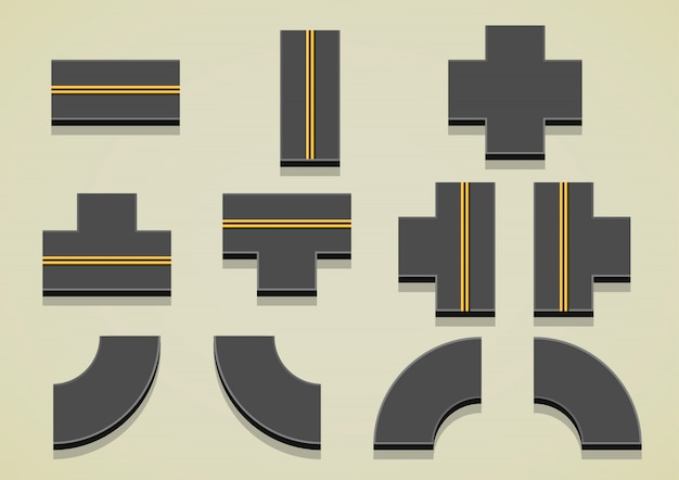 Road parts with yellow lines