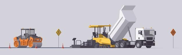 道路舗装セット。アスファルトペーバー&ロードローラー&ダンプトラック。孤立したイラスト。道路工事