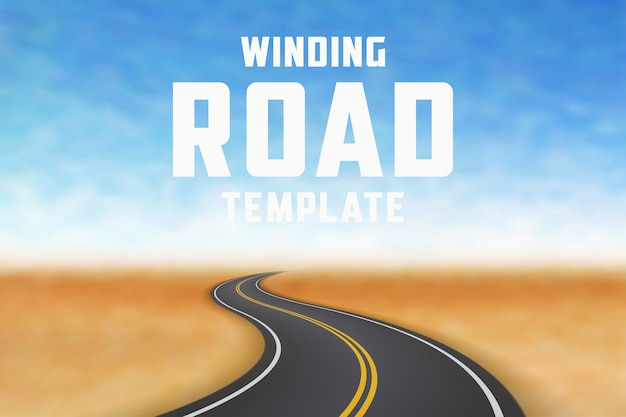 Road in perspective. highway landscape template