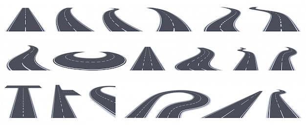Road perspective view. curving highway roads, bend asphalt roads in perspective. turn town urban roads   illustration set. road highway, asphalt to transportation, line view turn