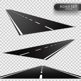 道路。後退する道路の展望。