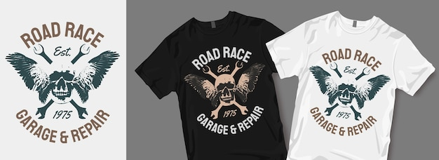 Road race garage and repair t shirt design merchandise