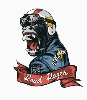 ヘルメットと革のジャケットのイラストのゴリラと道路の怒りのスローガン