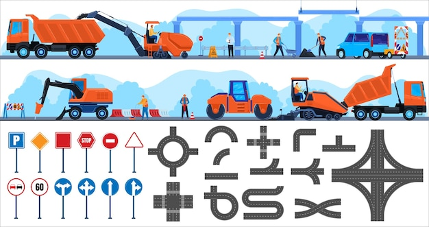 Road repair construction vector illustration repairman character working on constructing equipment truck, people building concrete asphalt highway Premium Vector