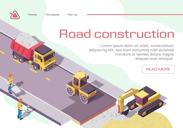 Road repair and construction with heavy machines and working people