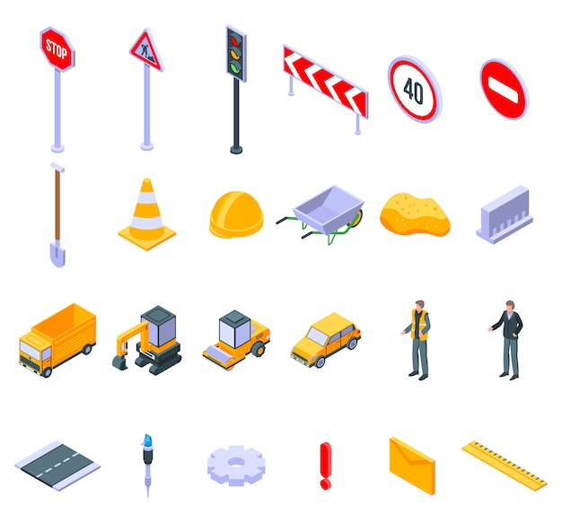 Road repair icons set, isometric style