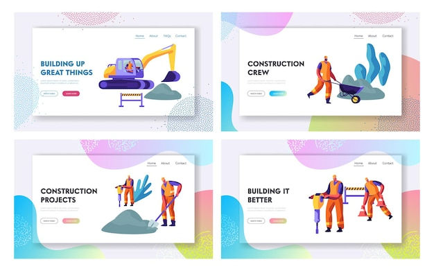 Road repair with excavator, rolling heavy vehicle and working people website landing page templates set