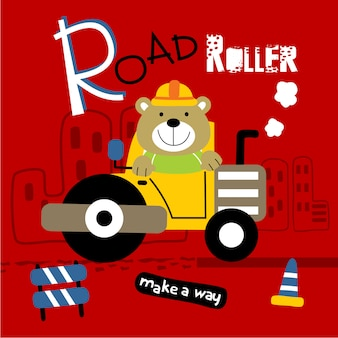 Road roller and bear funny animal cartoon