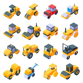 Road roller icons set, isometric style