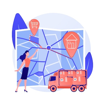 Выбор автомобильного маршрута, выбор пути, точки отправления и назначения. получение направления, гида, приложения навигатора. человек с картой города мультипликационный персонаж.