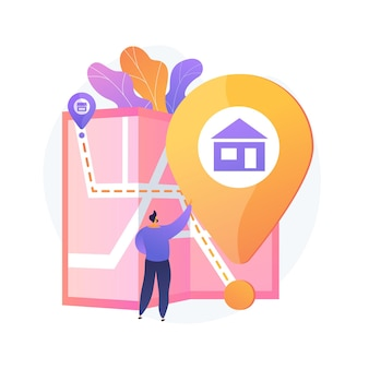 Road route choice, way selection, departure and destination points. getting direction, guide, navigator application. man with city map cartoon character. vector isolated concept metaphor illustration.