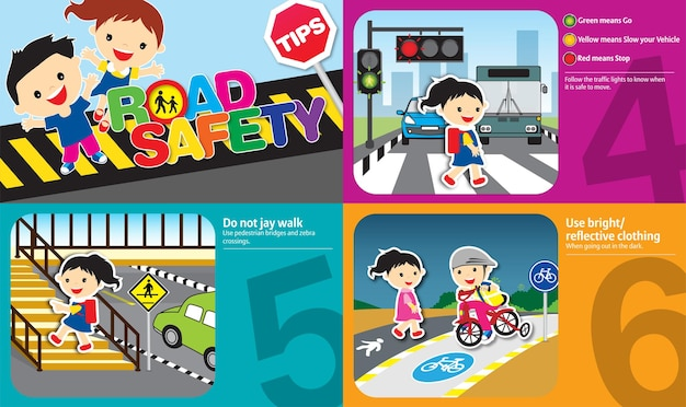 Road safety tips illustration with golden rules to be be followed by kids and adult design 2
