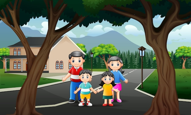 幸せな家族のイラストと道路シーン