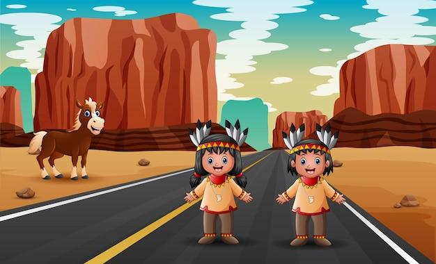 아메리카 원주민 인디언 그림에서 두 소년과 소녀와 도로 현장