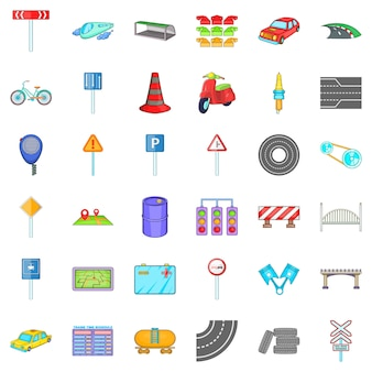 Road sigh icons set, cartoon style