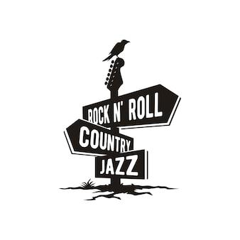 音楽ジャンルイラストイラスト付き道路標識板