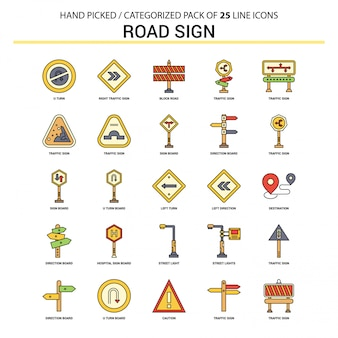 Road sign flat line icon set
