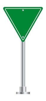 Дорожный знак. пустая доска зеленого треугольника для улицы шоссе.