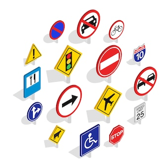 Road sign icon set, isometric style