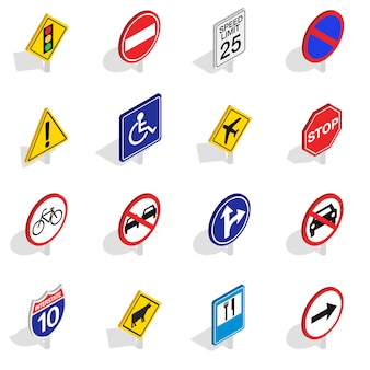 Road sign icons set in isometric 3d style isolated on white background