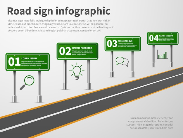 Road sign infographic.