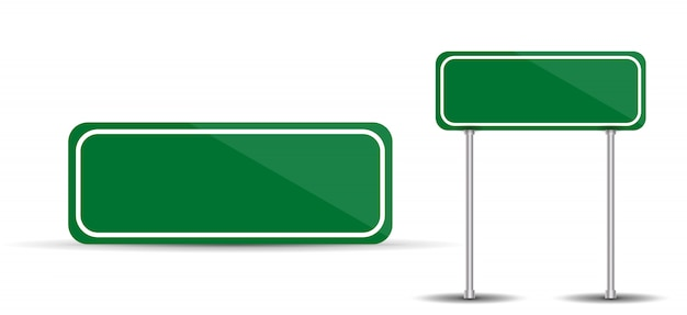 Road sign isolated on white background blank green traffic.