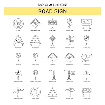 Road sign line icon set - 25 dashed outline style