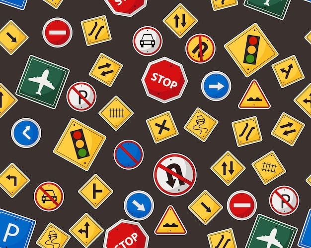 Road sign seamless pattern