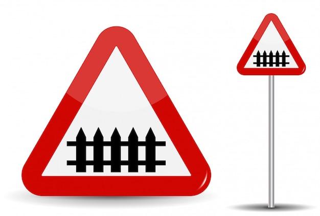 Дорожный знак предупреждение железнодорожный переезд. в красном треугольнике схематично изображен забор-барьер. иллюстрация.