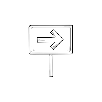 Road sign with arrow hand drawn outline doodle icon. signpost and travel direction, guidepost and board concept