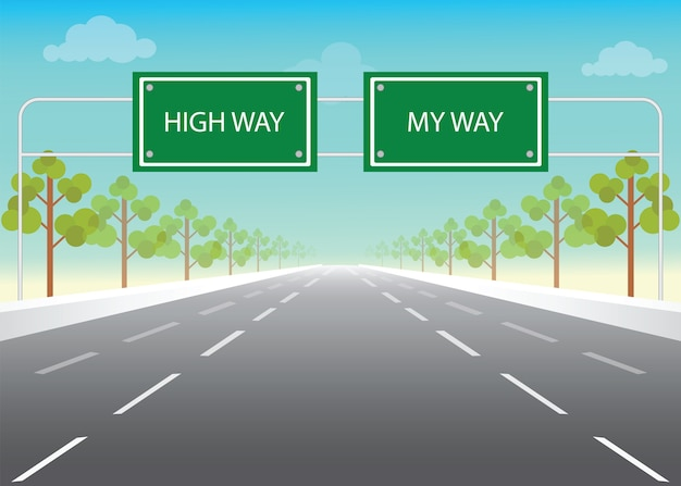 Road sign with my way and high way words