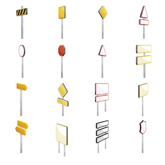 Road signs icons set. cartoon illustration of 16 road signs icons for web