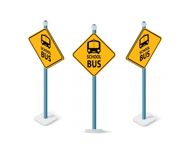 Road signs isometric set street object