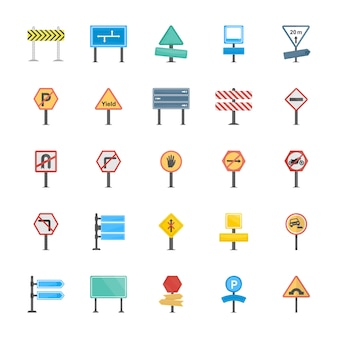 Road signs and junctions flat vector icons collection