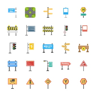 Road signs and junctions flat vector icons set