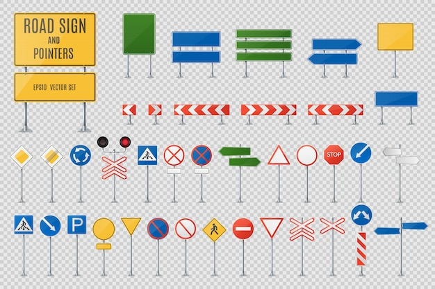 Road signs and pointers realistic vector set