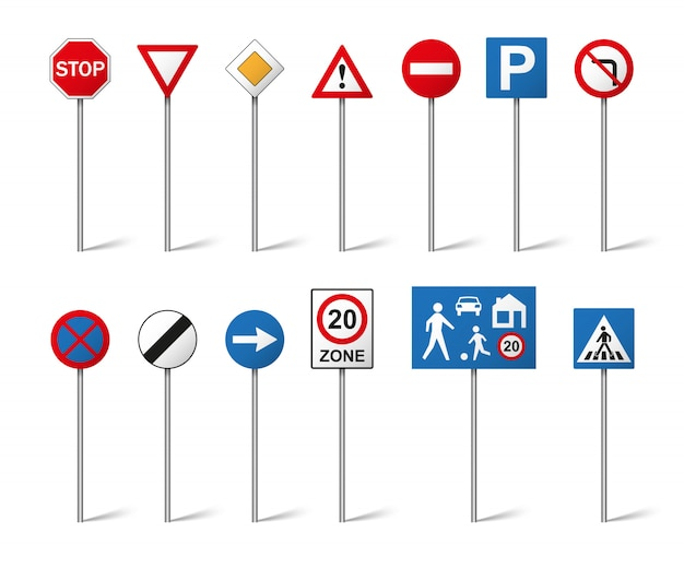 Дорожные знаки на белом фоне. иллюстрация