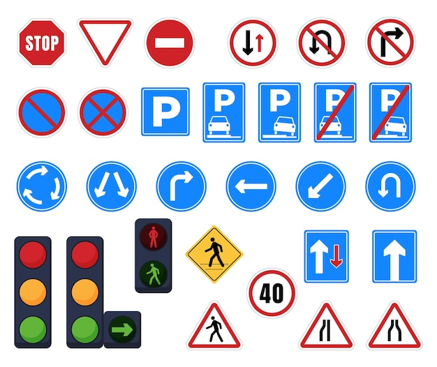 Road signs. stop, parking, direction of traffic, pedestrian crossing, signposts and prohibition signs. traffic light