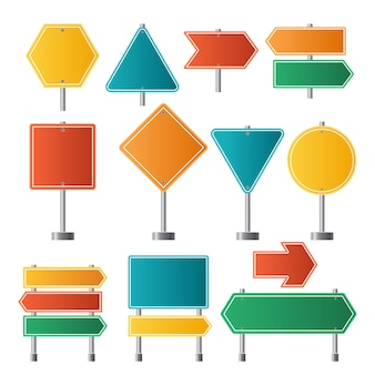 Road signs. traffic highway dirrection travel road signs illustrations