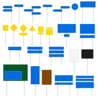 도 표지판 벡터에 고립 된 흰색 배경을 설정합니다. 평면 디자인 파란색, 녹색, 흰색, 검정, 노란색 색상 교통 아이콘 모음. 삼각형, 정사각형, 직사각형, 원형, 화살표 모양의 빈 여행 아이콘