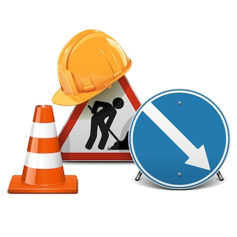 Road signs with helmet and cone